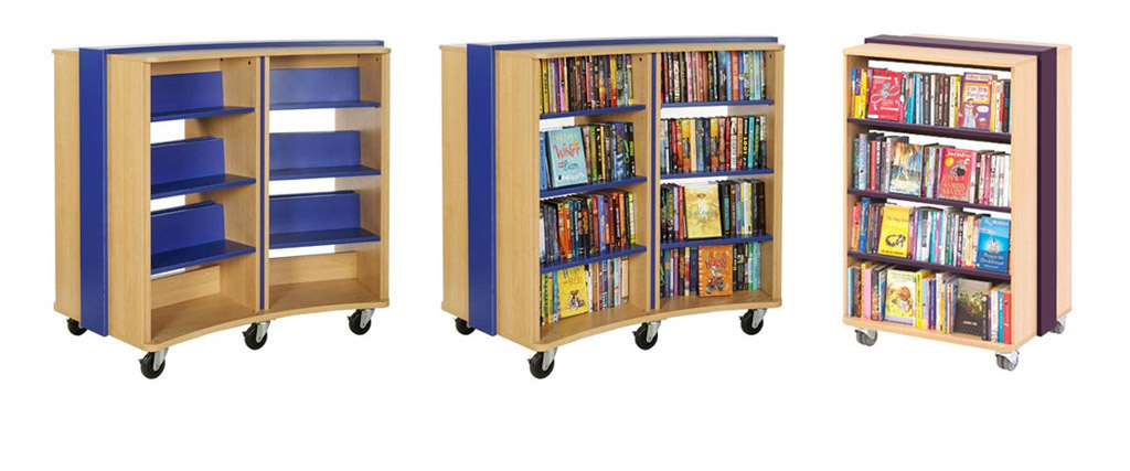 Curved Mobile Bookcase and Straight Mobile Bookcase