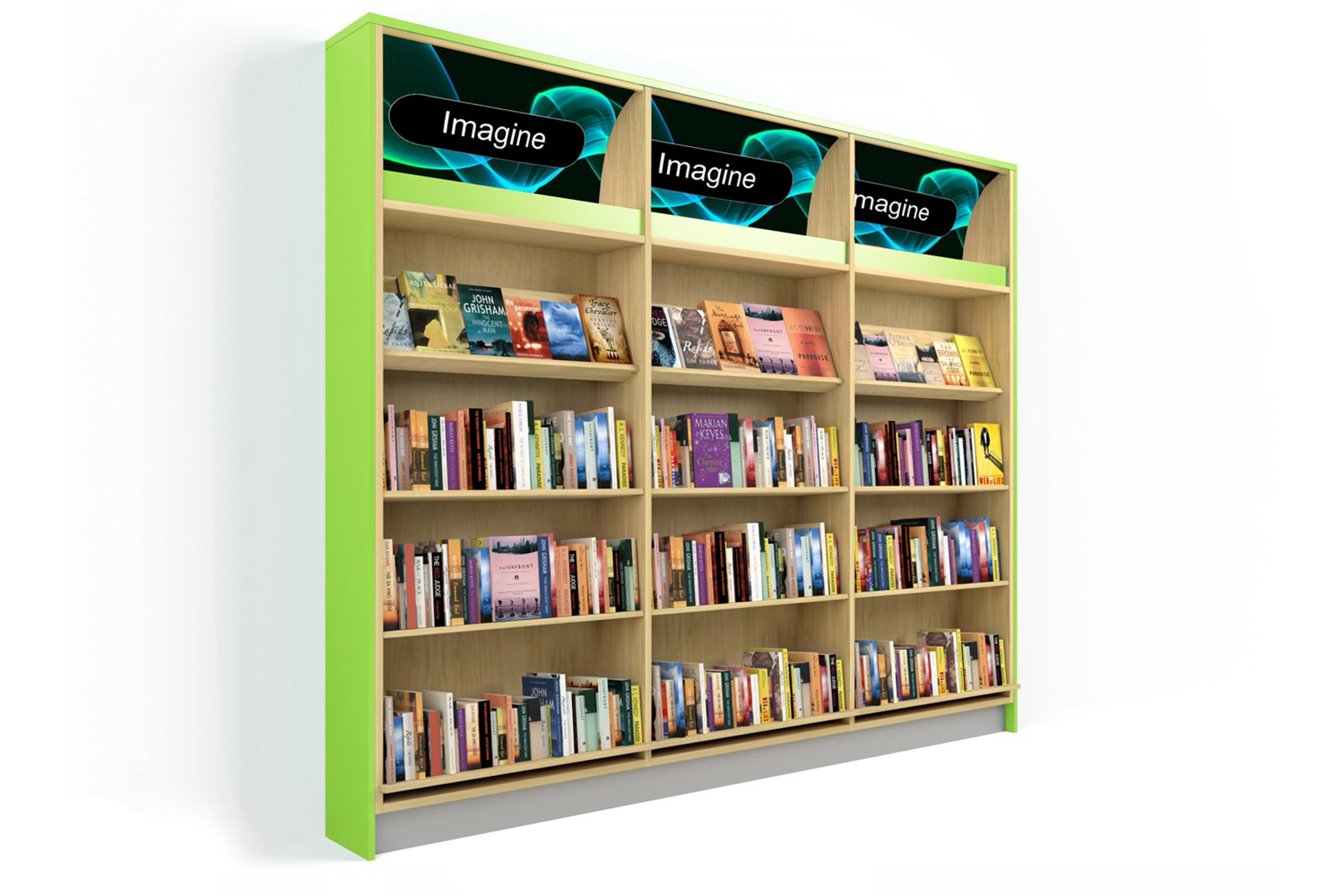 Shelving fitted with LED lights to illuminate the customized graphic