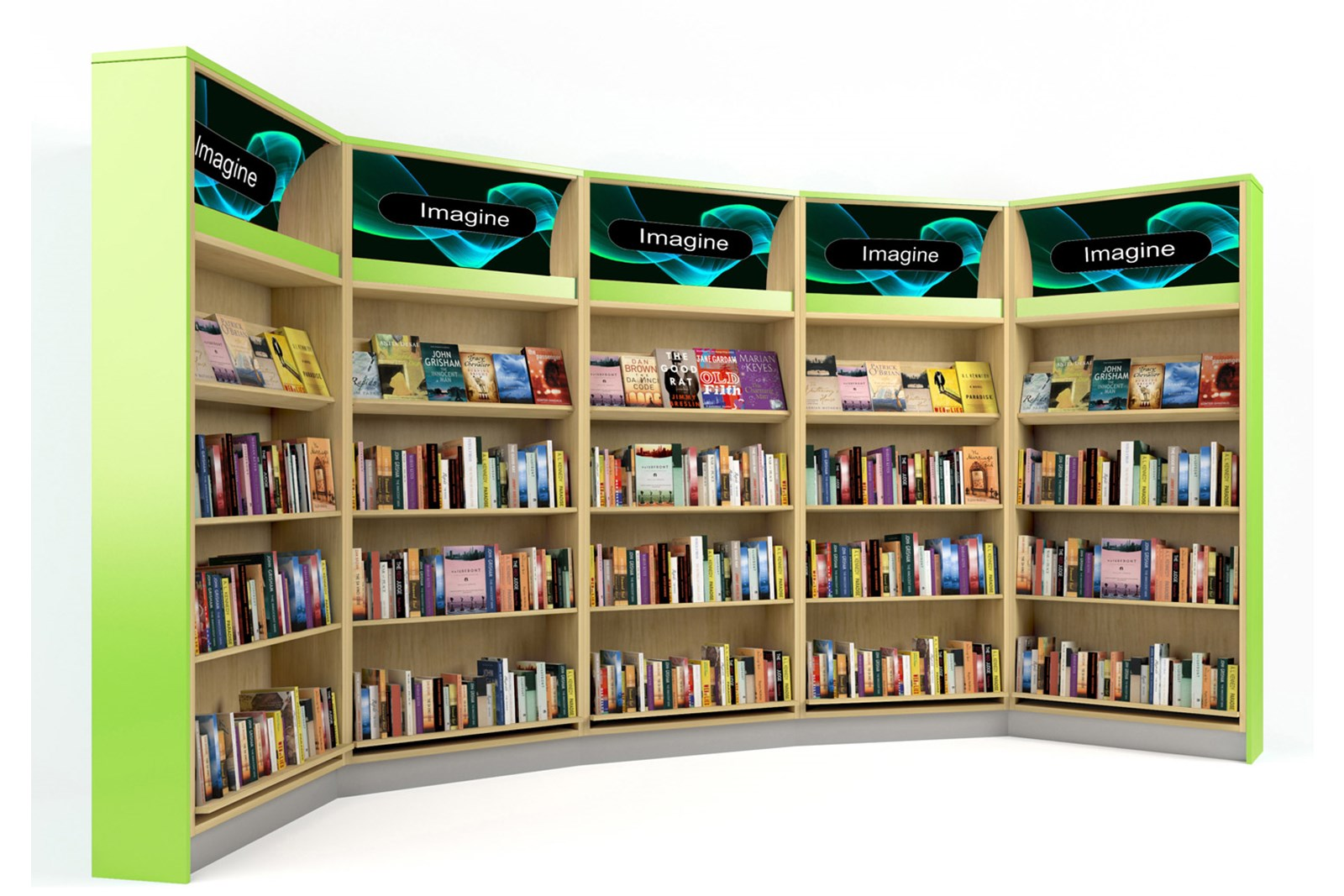 Library shelving with retail-style lightboxes
